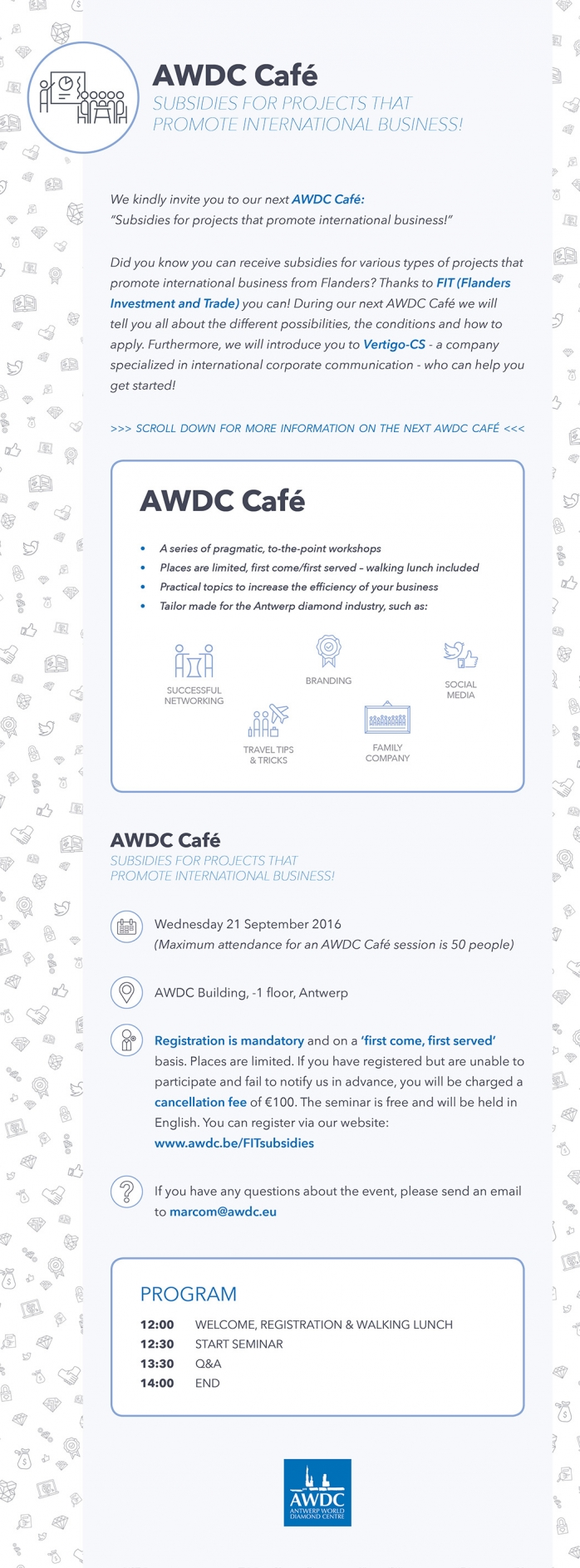 AWDC Café: Subsidies for projects that promote international